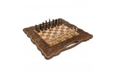 Шахматы + нарды резные Вардени 60 с ручкой Haleyan