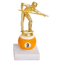 Кубок бильярдный Игрок на шаре № 9 на мраморном основании