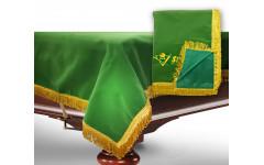 Чехол для б/стола 8-3 (зеленый с зеленой бахромой, с логотипом)